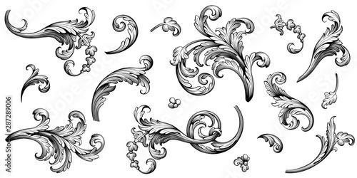 Wallpaper Mural Vintage Baroque Victorian frame border flower pattern vector floral engraved scr
