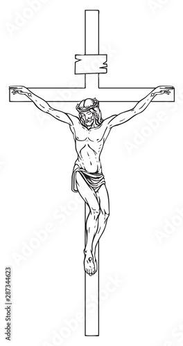 Foto Vector illustration of religious symbol crucifix