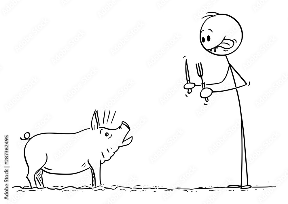 Vector cartoon stick figure drawing conceptual illustration of man smacking his lips while looking at terrified pig with fork and knife in hands. <span>plik: #287362495 | autor: Zdenek Sasek</span>