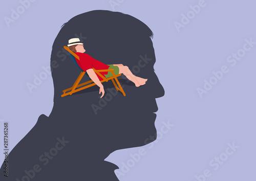 Fotografia, Obraz Concept de la relaxation mentale, avec un homme vu de profil qui s'imagine allongé sur une chaise longue en train de se reposer