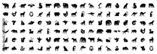 Animals logos collection. Animal logo set. Isolated on White background