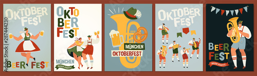 Obraz na plátne Group Of People Drink Beer Oktoberfest Party Celebration Man And Woman Wearing Traditional Clothes couples dance, musicians play