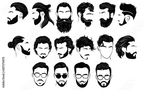 Obraz na plátně Set of hairstyles for men