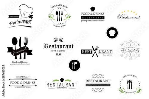Fényképezés Food And Restaurant Logo Set - Isolated On White Background