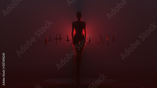 Photo Evil Spirit Ghost Demon Floating Evil Blood Queen Vampire Dripping in Blood with