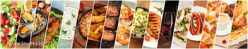 Collage żywności. Szablon projektu z wieloma smacznymi daniami