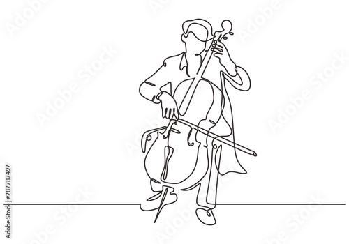 Continuous one line cello music instrument Fototapeta