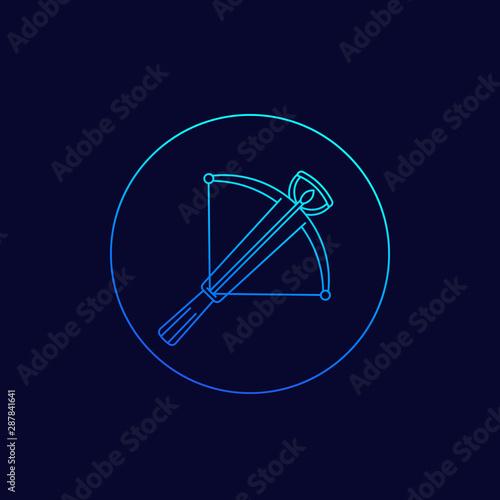 Foto crossbow icon, linear vector design