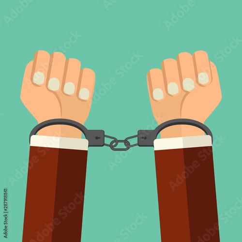 Canvas Print Vector illustration handcuffs on hands of  criminal man