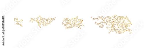 Tableau sur Toile Vector line art floral gold decoration, vignettes