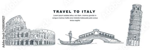 Obraz na płótnie Travel to Italy hand drawn design elements
