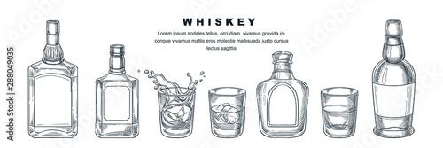 Whiskey bottles and glass, vector sketch illustration Fototapeta