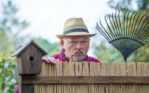 An elderly man with hat looks angry and watching over a garden fence Fototapeta