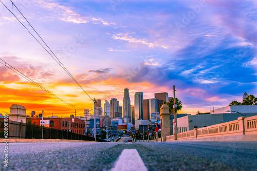 Obraz na plátně Downtown Los Angeles Skyline