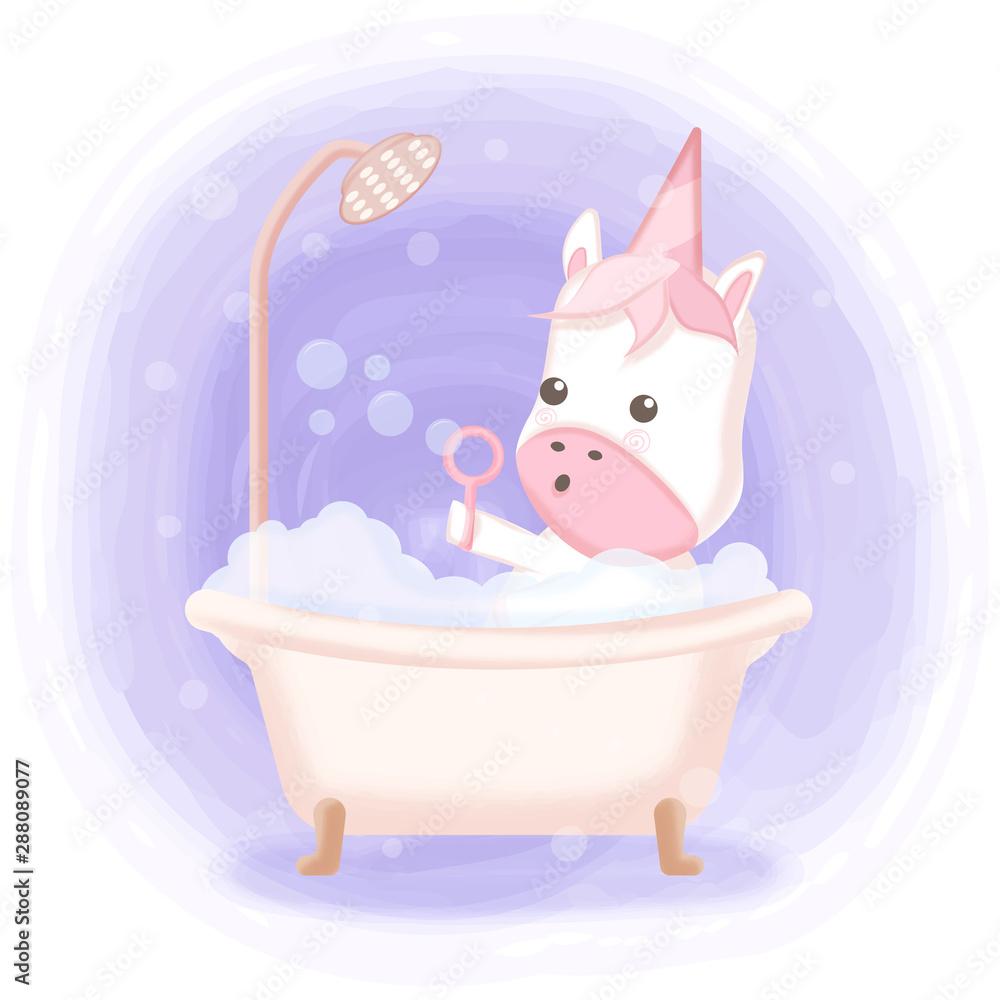Cute unicorn taking bath in bathtub hand drawn cartoon illustration <span>plik: #288089077 | autor: kheat</span>