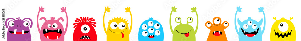 Happy Halloween. Monster colorful silhouette head face icon set line. Eyes, tongue, tooth fang, hands up. Cute cartoon kawaii scary funny baby character. White background. Flat design.