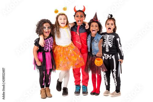 Vászonkép Group of kids in Halloween costumes