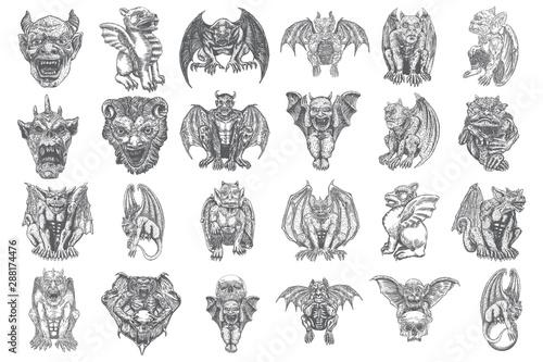 Fototapeta Set of mythological ancient gargoyle creatures, human and dragon like chimera with bat wings and horns