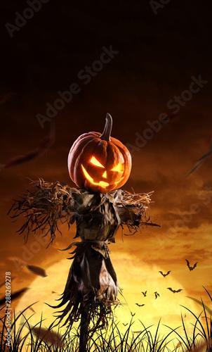 Obraz na płótnie halloween pumpkin scarecrow on a wide field with the moon on a scary night