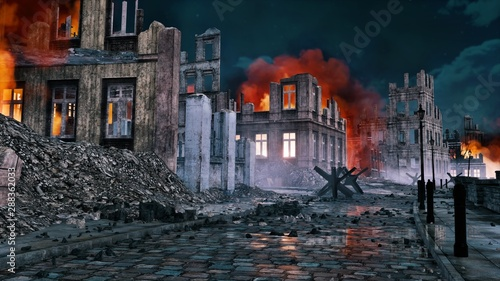 Canvas Print Empty street of destroyed after war old european city with burning building ruins and debris at night