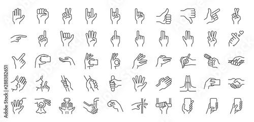 Canvas Print Hand gestures line icon set