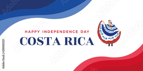 Fotografia Illustration of Costa Rican women in local dress and Flag of Costa Rica waving,