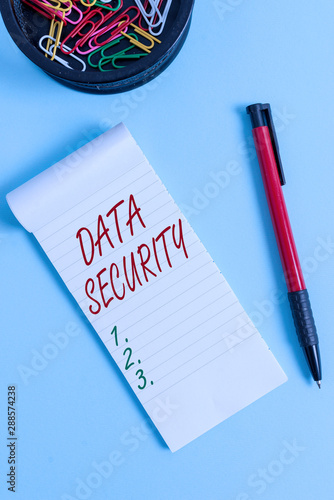 Tela Writing note showing Data Security