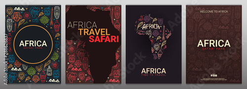 Set of Africa banners. Safari Park. Colorful illustration with hand draw doodle Background.