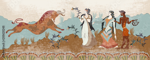 Ancient Greece frescos. Minoan civilization. Jumping bulls and people. Knosso...