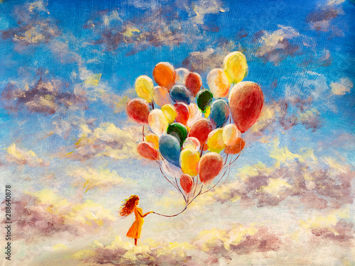 Oil painting young woman girl with multicolored balloons stands on cloud in sky. Art happiness concept artwork, happy people on canvas