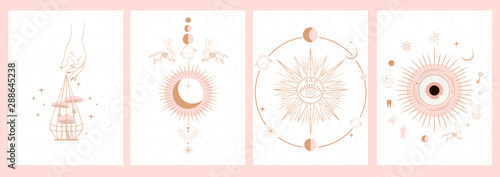 Collection of mystical and mysterious illustrations in hand drawn style. Skulls, animals, space objects, magic ball, crystals, hands. Minimalistic objects made in the style.