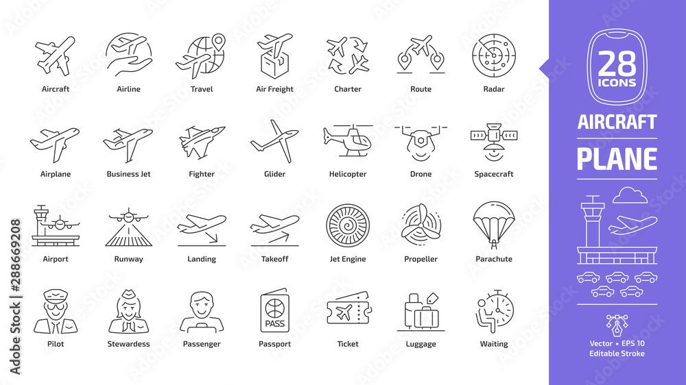 Zestaw ikon konspektu samolotu z edytowalnym symbolem udaru samolotu: linia lotnicza, podróż, fracht lotniczy, czarter, trasa, radar, samolot, samolot biznesowy, wojskowy myśliwiec, szybowiec, helikopter, dron, statek kosmiczny <span>plik: #288669208   autor: Yuriy</span>