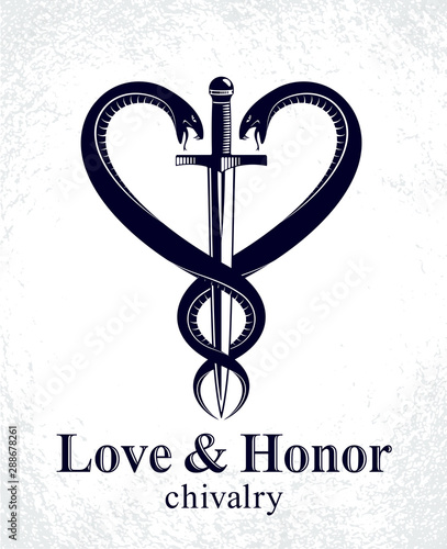 Fotografia Dagger and two snakes in a shape of heart vector vintage style emblem or logo, chivalry love and honor concept, medieval Victorian style