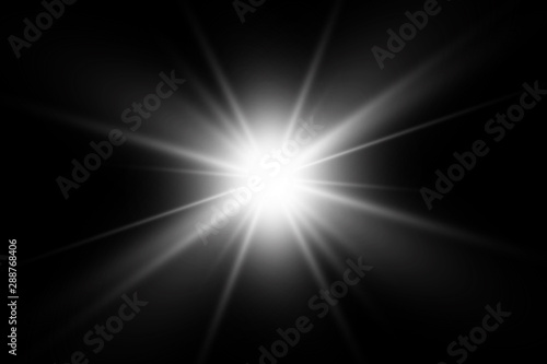 Fotografia White glowing light explodes on a transparent background