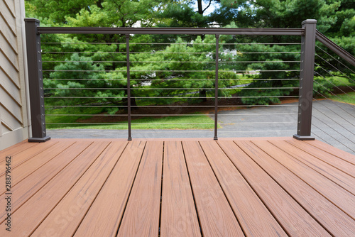 Canvas Print New Deck with Metal Wire Railing