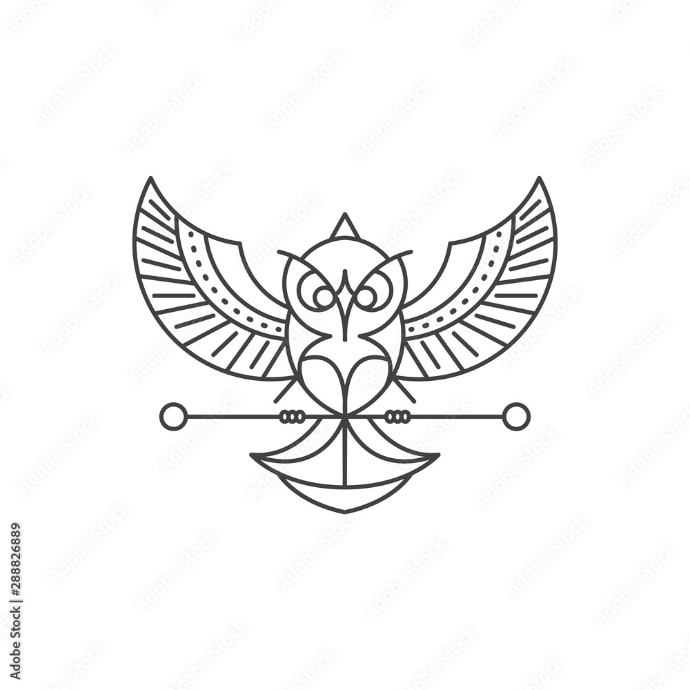 Line art style Owl logo Design. High Quality Vector Illustration <span>plik: #288826889   autor: Al-Imran Akanda</span>