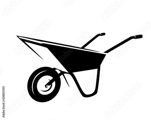 Billede på lærred empty garden cart  - wheelbarrow tool black and white vector outline