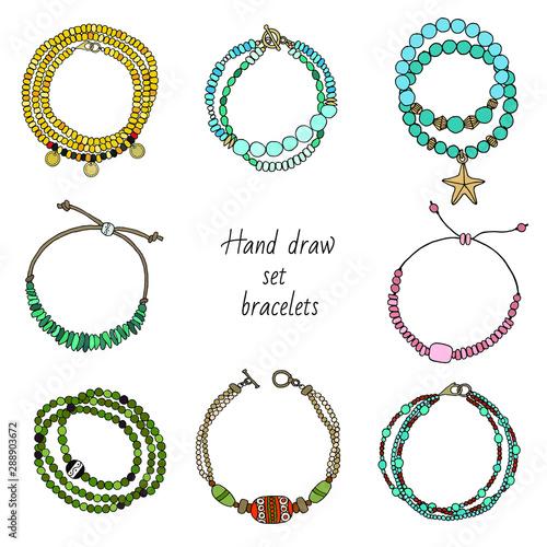 Carta da parati Hand-drawn set of jewelry-bracelets. Vector