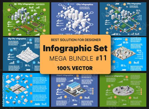 Fényképezés Isometric set infographics concept of blocks