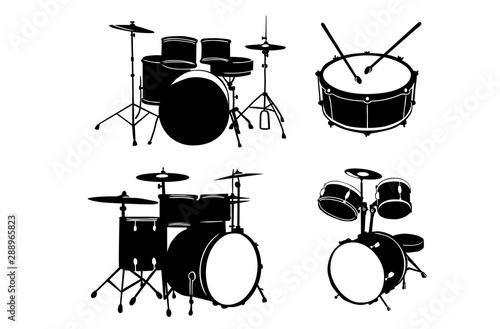 Vector Drums Silhouettes Set Tapéta, Fotótapéta