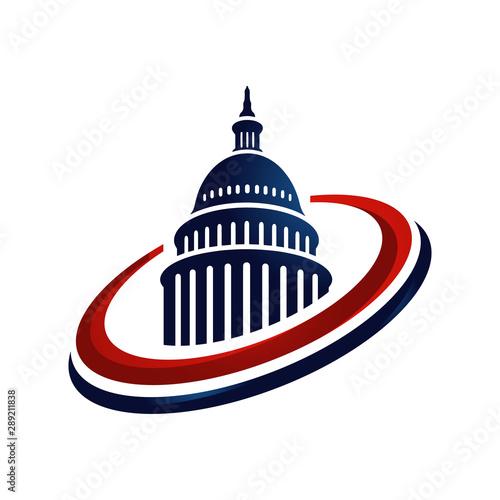 Carta da parati creative simple american capitol building vector logo design
