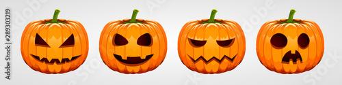 Set of halloween pumpkins, funny faces. Autumn holidays. Fototapet
