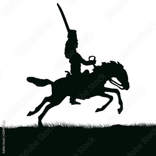 1800's Crimean war, British cavalry on a horse charging Fototapeta