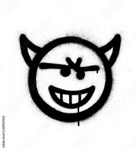 Tableau sur Toile graffiti sneaky devil icon sprayed in black over white