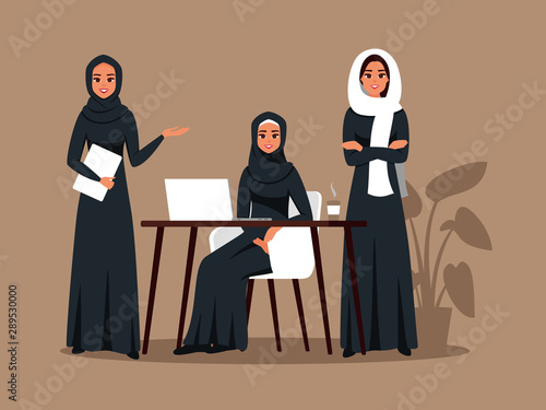 Fotomural Successful creative business team of arab women is working together on a joint project