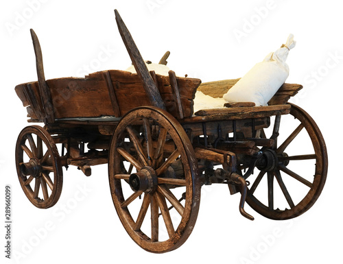 Fotomural Wooden cart wagon carriage with sacks load isolated on white background