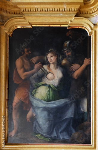 Fotografiet Martyrdom of Saint Agatha of Sicily altarpiece in Mantua Cathedral, Italy