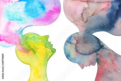 Fototapeta disegno grafico concettuale due persone con emozioni opposti