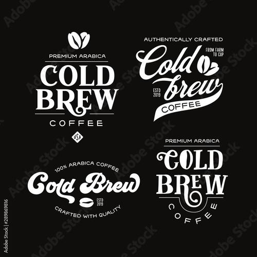 Tableau sur Toile Cold brew coffee labels badges emblems set