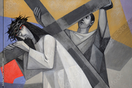 5th Stations of the Cross, Simon of Cyrene carries the cross, Church of the Holy Fototapeta